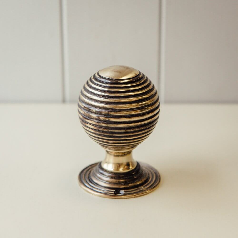 Large Beehive Brass Door Knobs