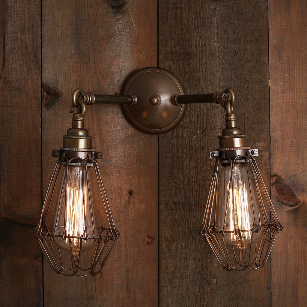 Industrial Style Double Wall Lights : Industrial Double Arm Cage Wall Light