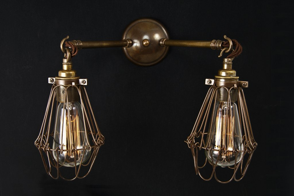 Double Industrial Wall Lights : Industrial Double Arm Cage Wall Light