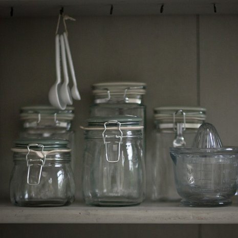 Glass Storage Jars with Duck Egg Blue Lids