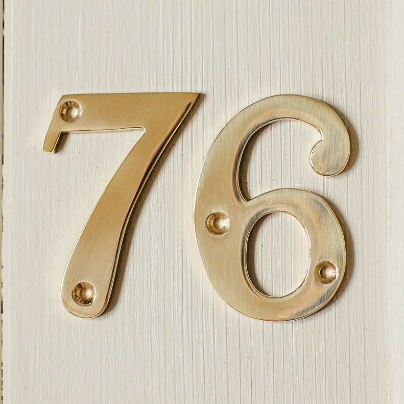 House Number '6' - Brass