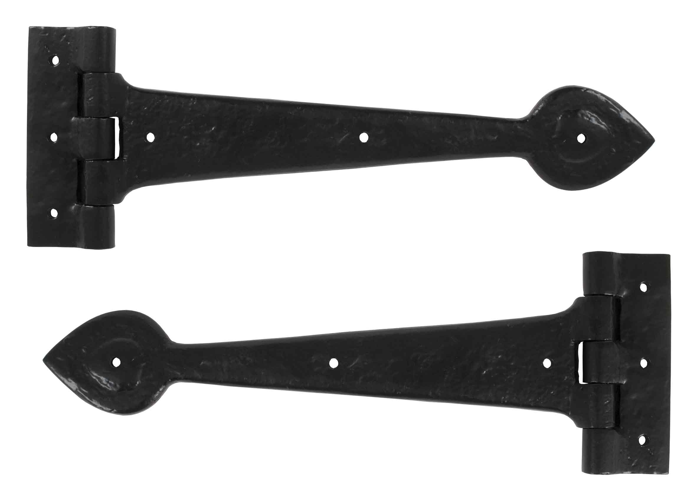 "Black Antique 12"" T Hinge (pair)"