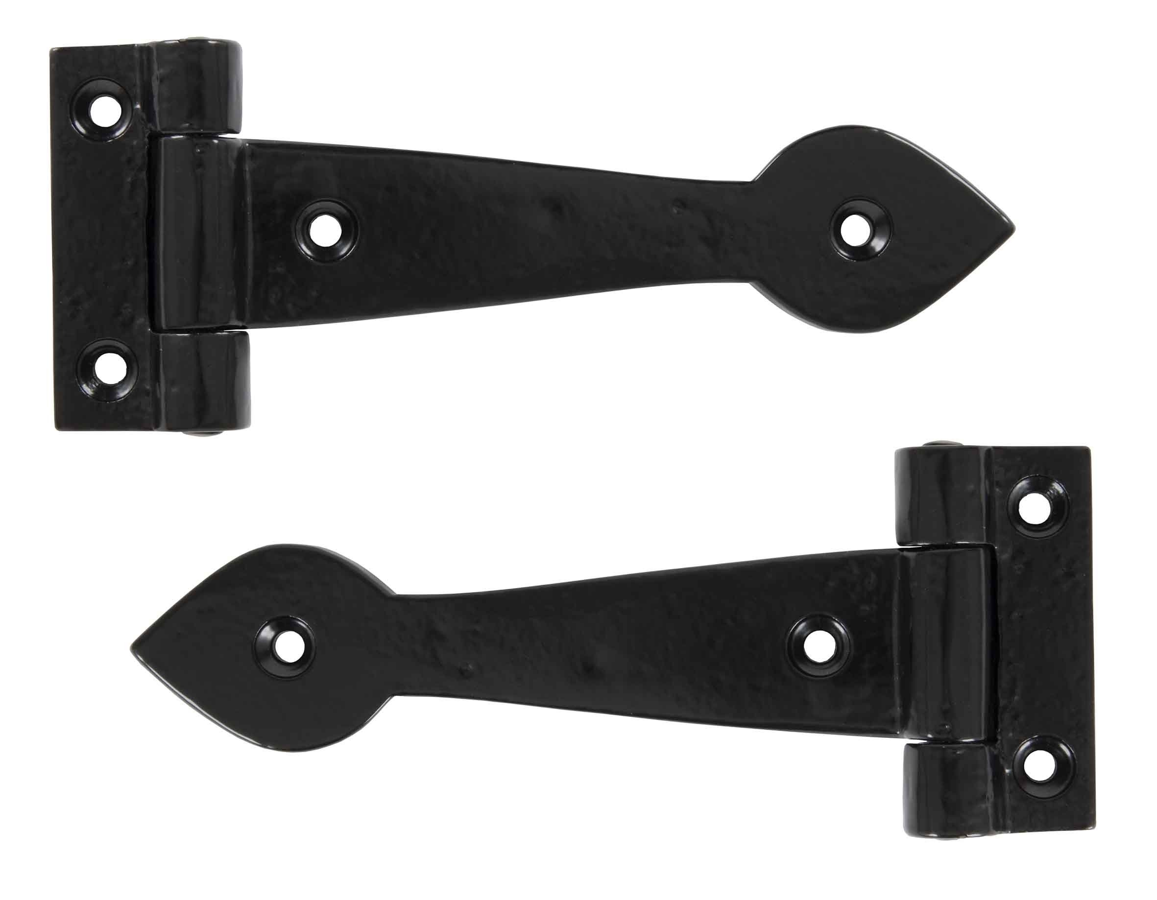 "Black Smooth 6"" T Hinge (pair)"