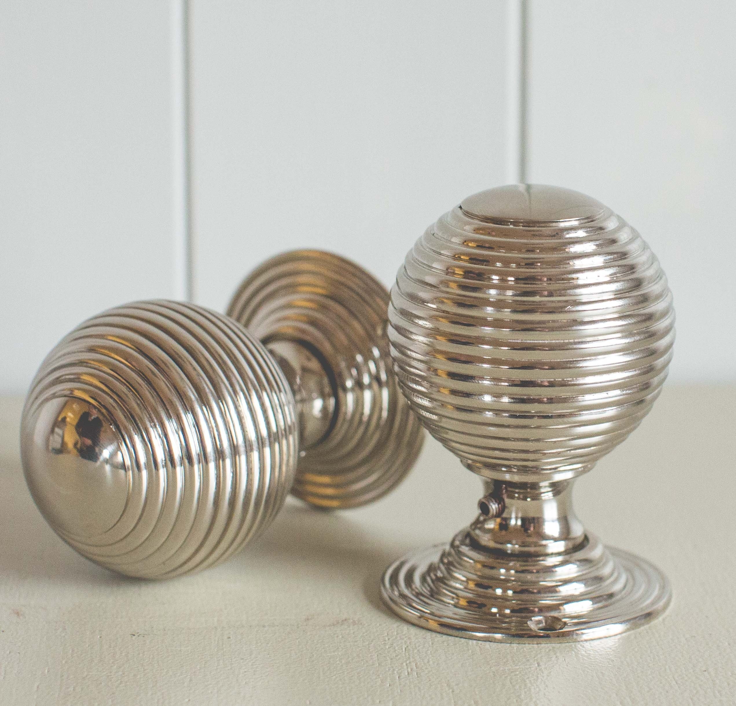 Beehive Large Door Knobs (Pair)   Nickel