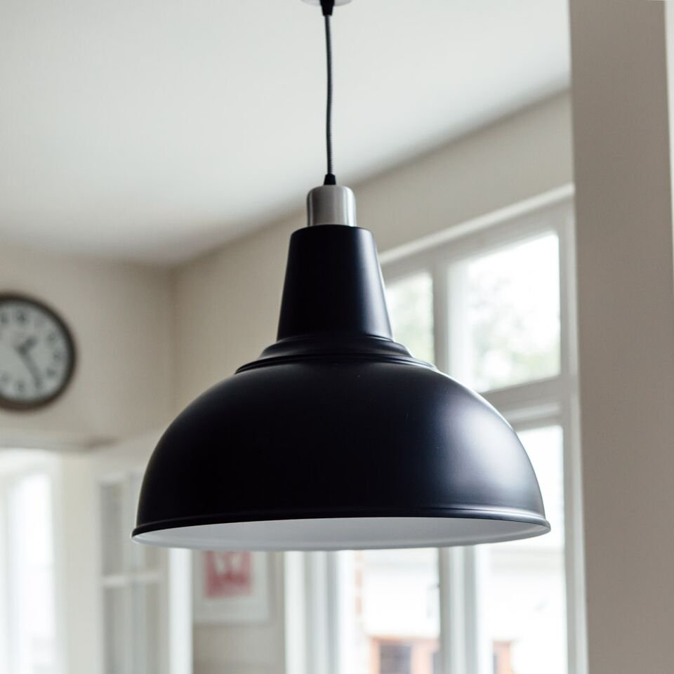 Large Kitchen Pendant Light - Black save 25%