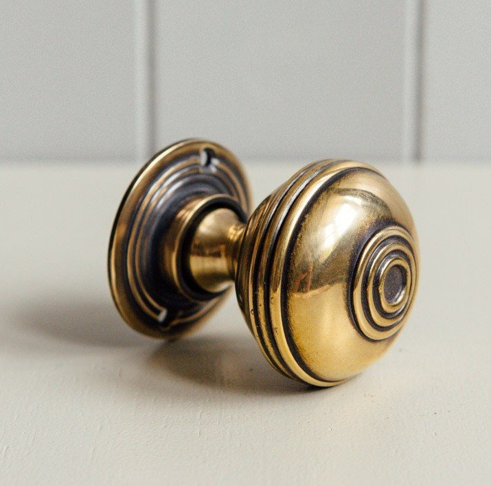 Regency-Style Large Door Knobs (Pair) - Aged Brass