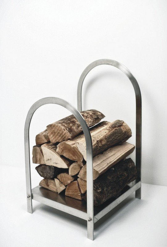 Log Holder - Brushed Steel