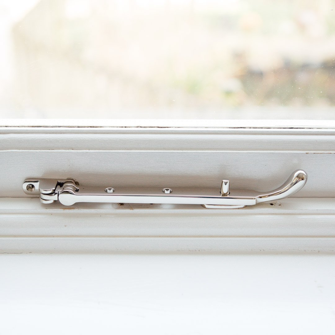 Bulb End Casement Stay - Polished Nickel