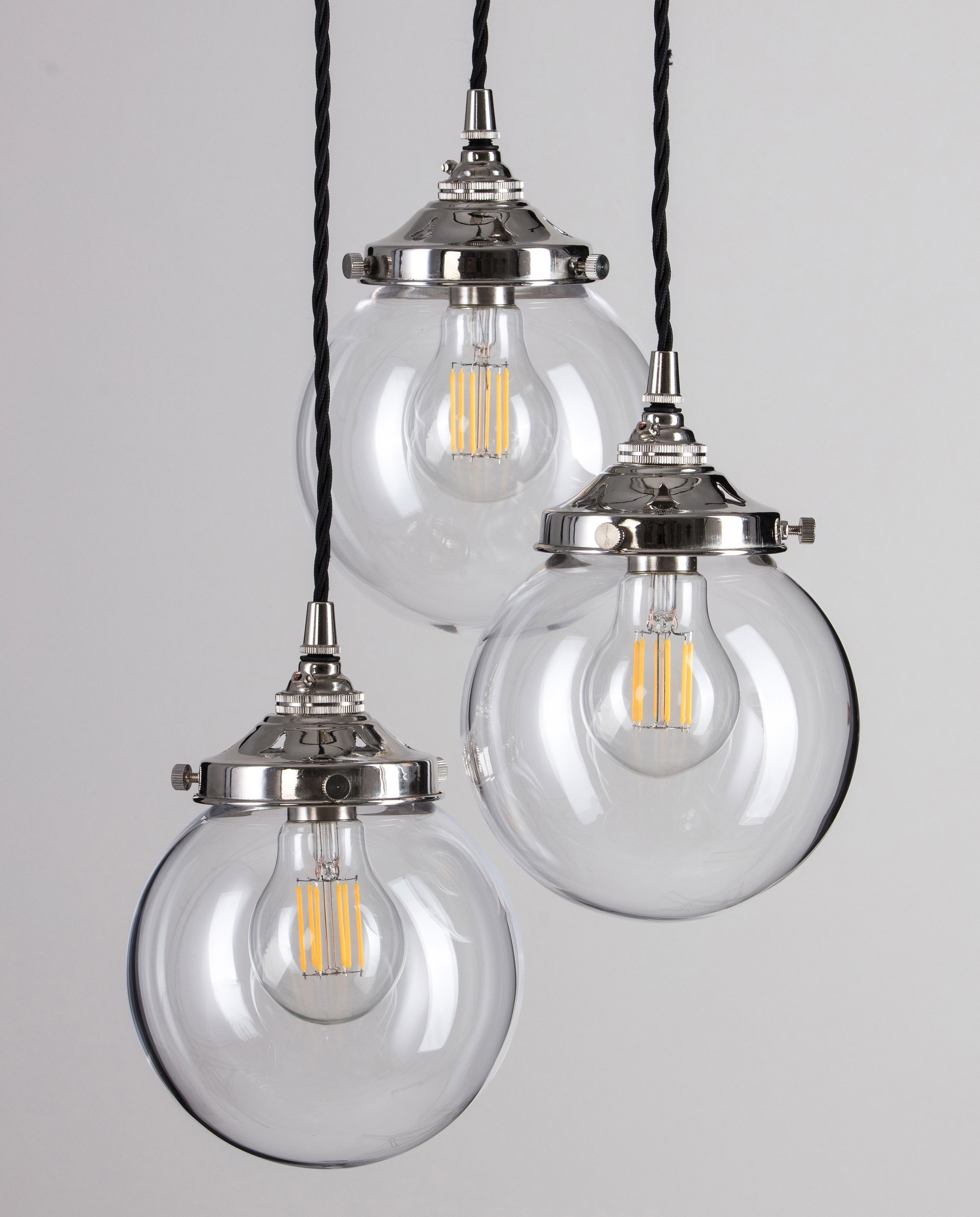 Glass Globe Cluster Pendant Light - Antique Silver