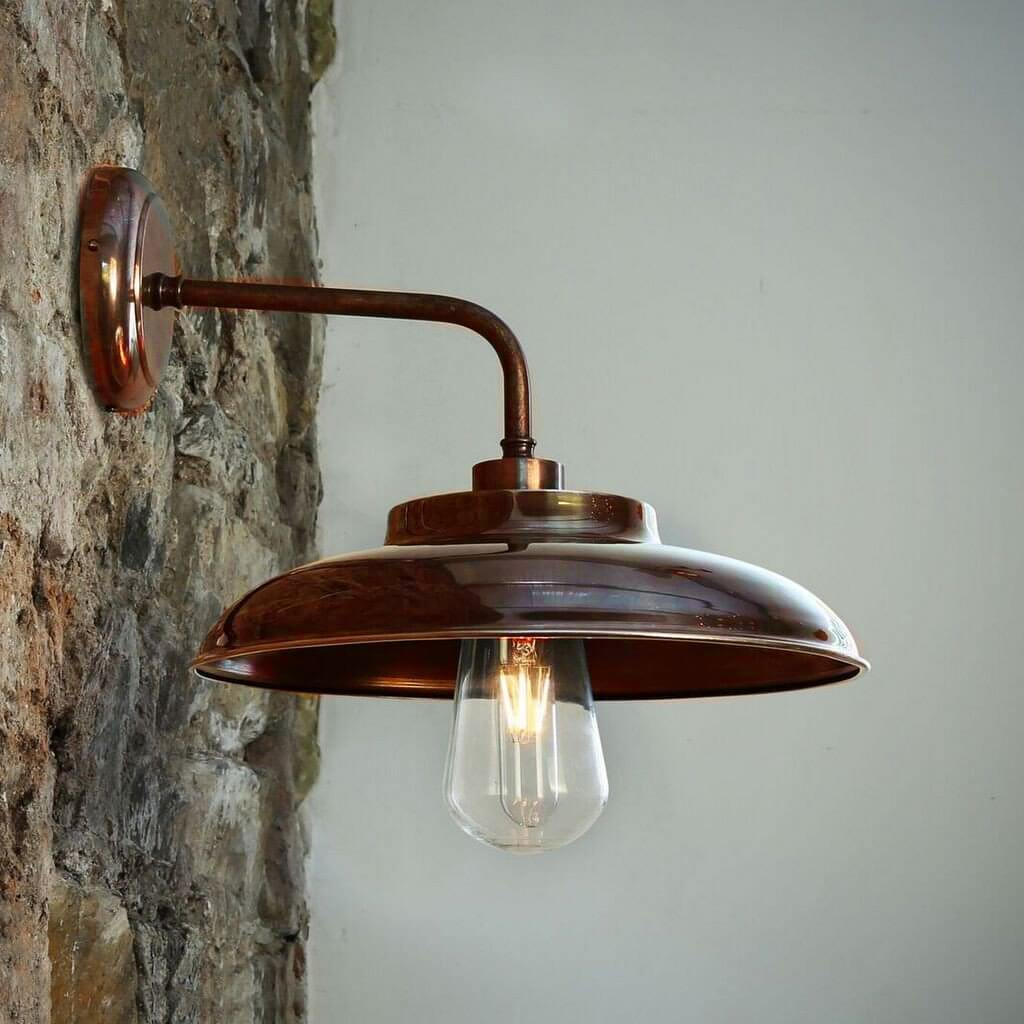 Factory Wall Light in Antique Brass