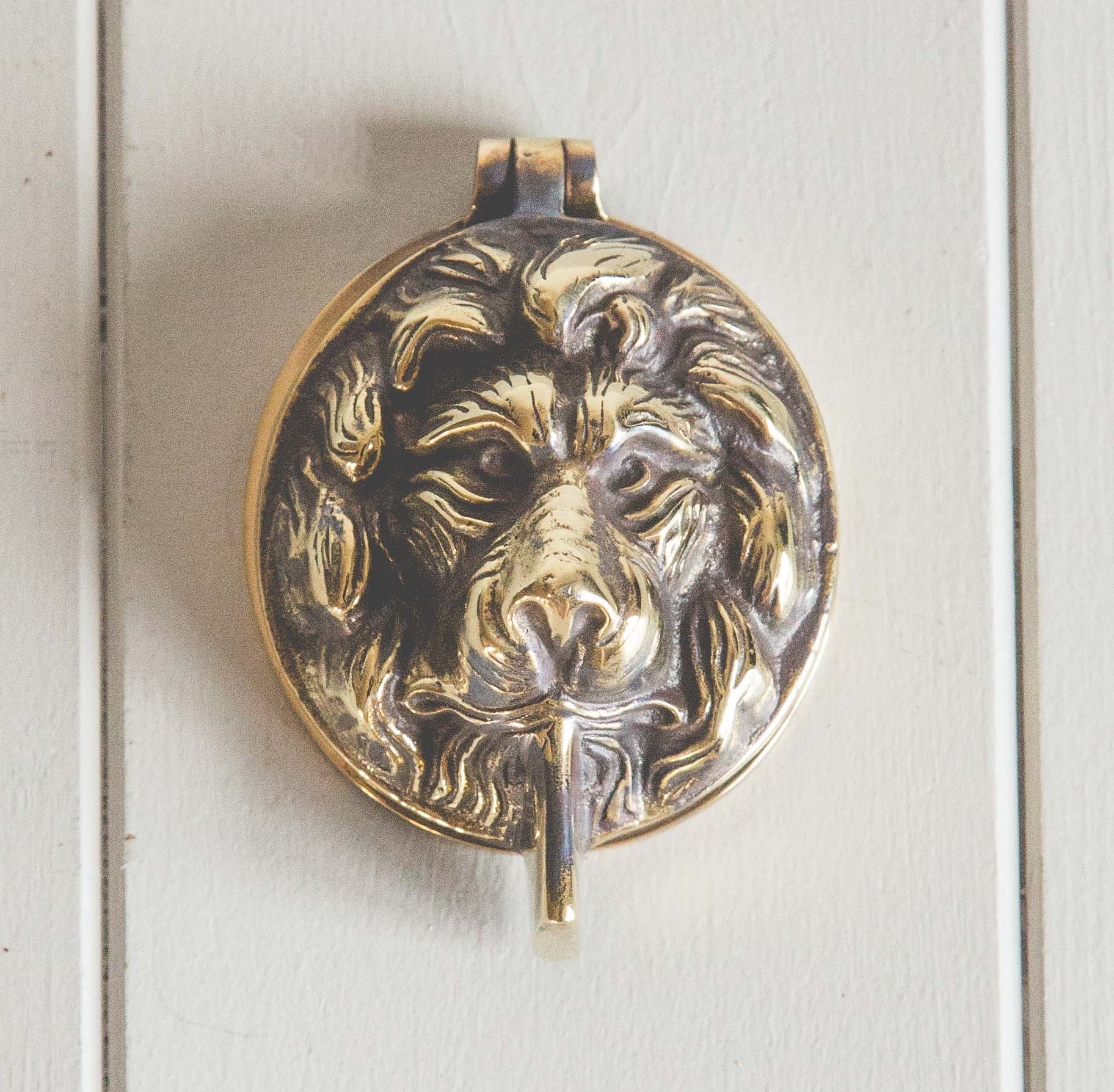 Lions Head Latch Key Cover - Aged Brass