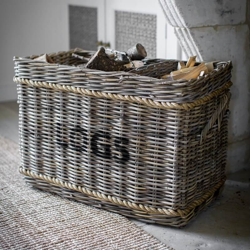 Log Basket With Rope Detail