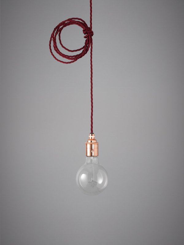 Vintage Style Pendant Set - Copper Finish & Burgundy Cable