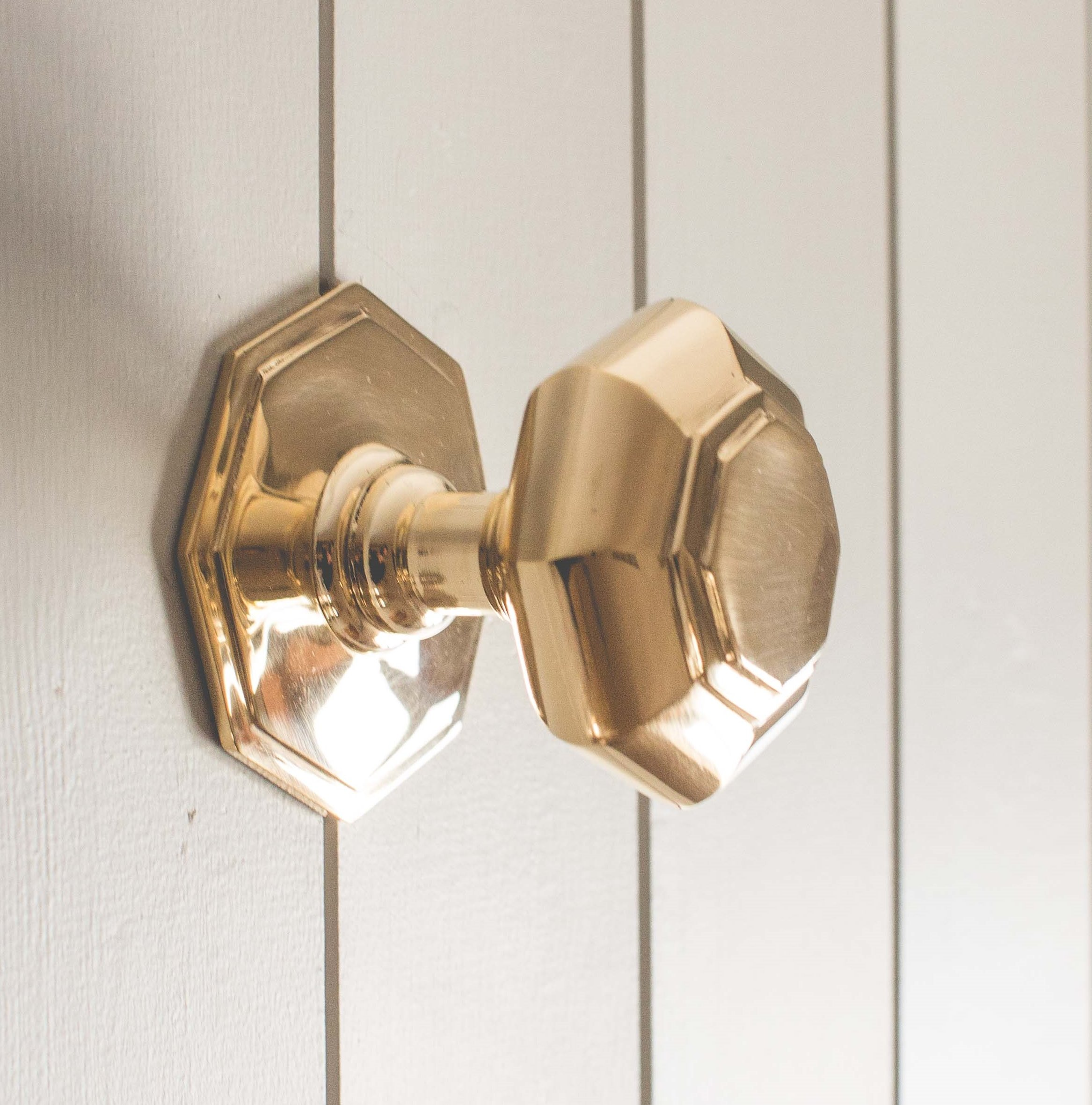 Octagonal Door Pull - Brass