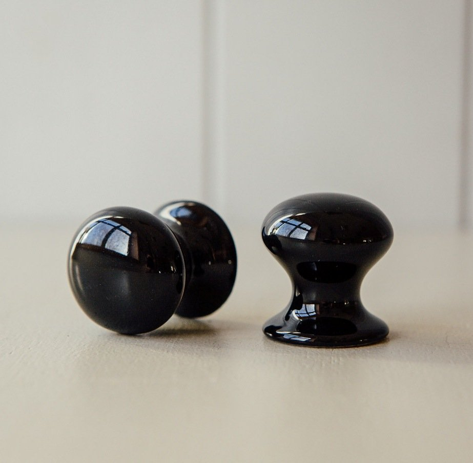 Porcelain Cabinet Knob - Black save 40%