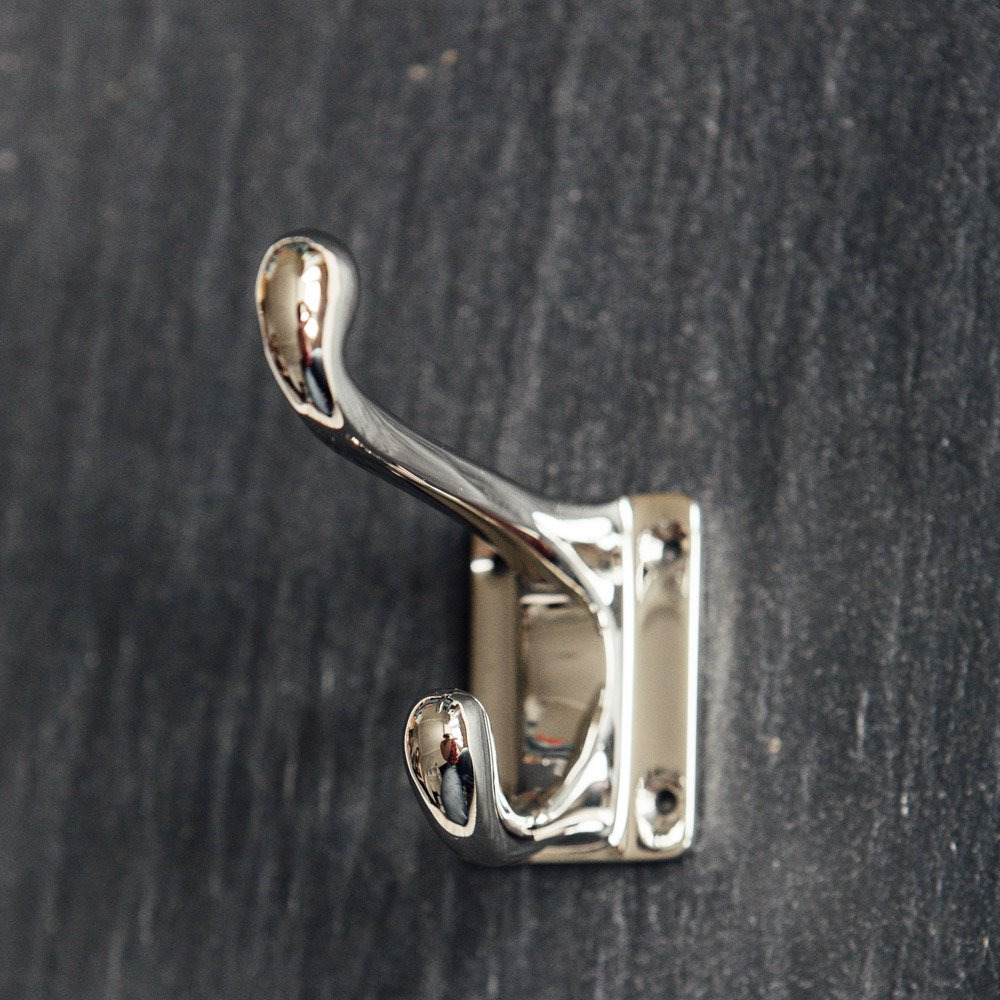 Hat and Coat Hook - Rectangular Base - Polished Nickel