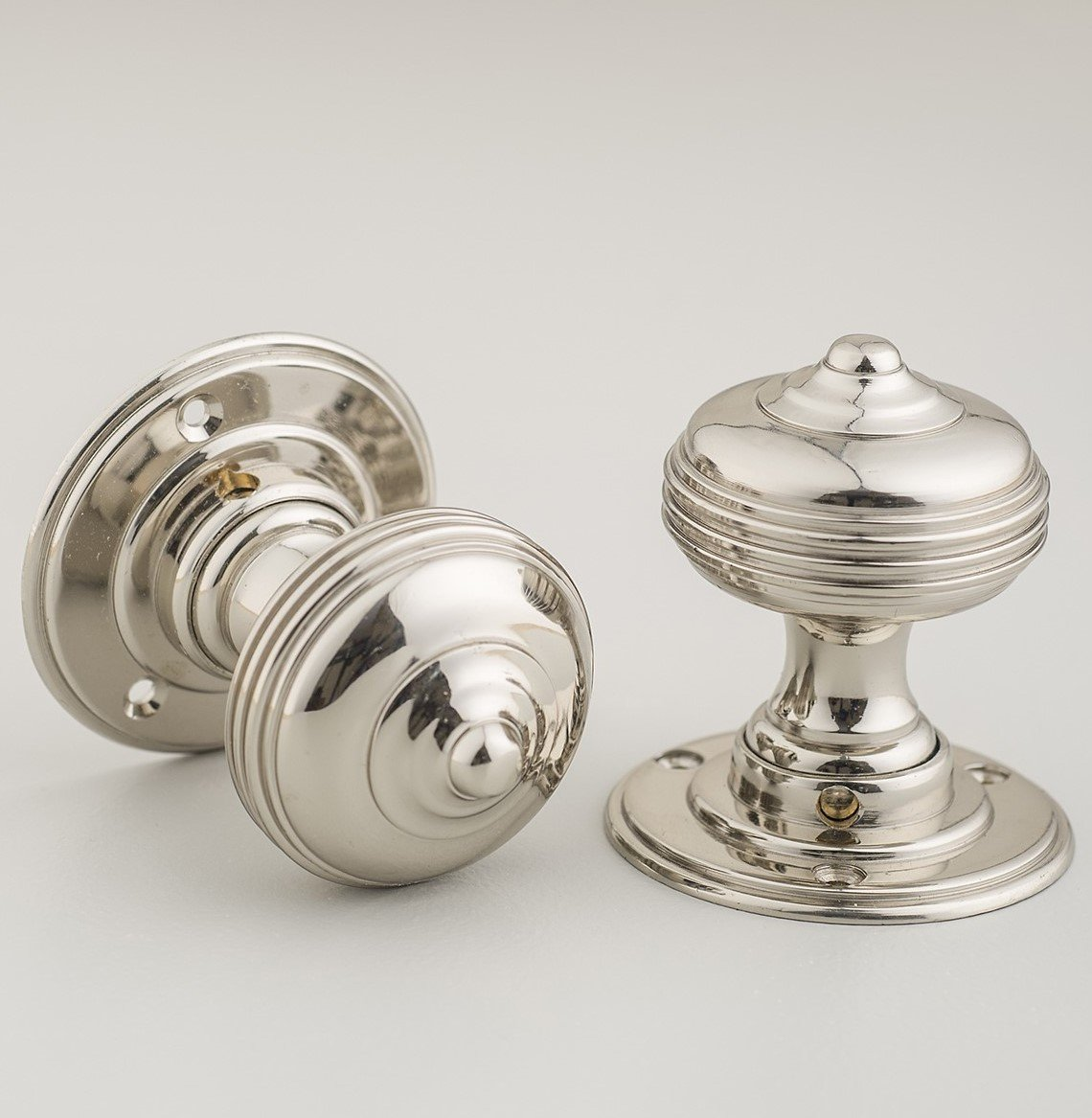 Queen Anne Regency Door Knobs (Pair) - Nickel save 25%