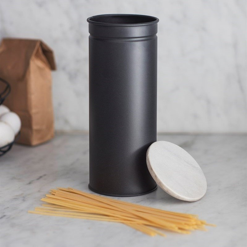 Spaghetti Canister - Carbon and Marble