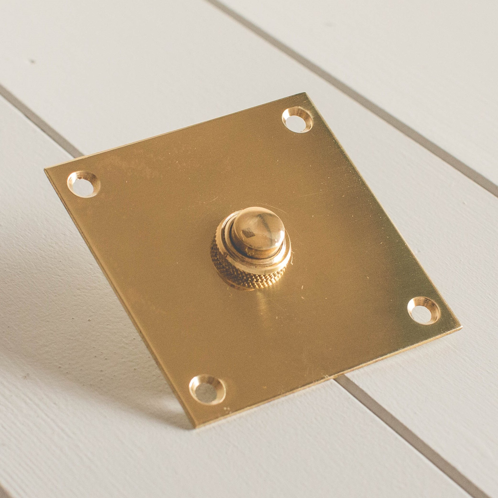 Square Bell Push - Brass