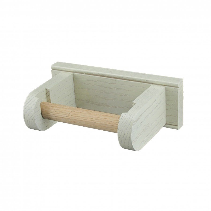 Oak Toilet Roll Holder  - White