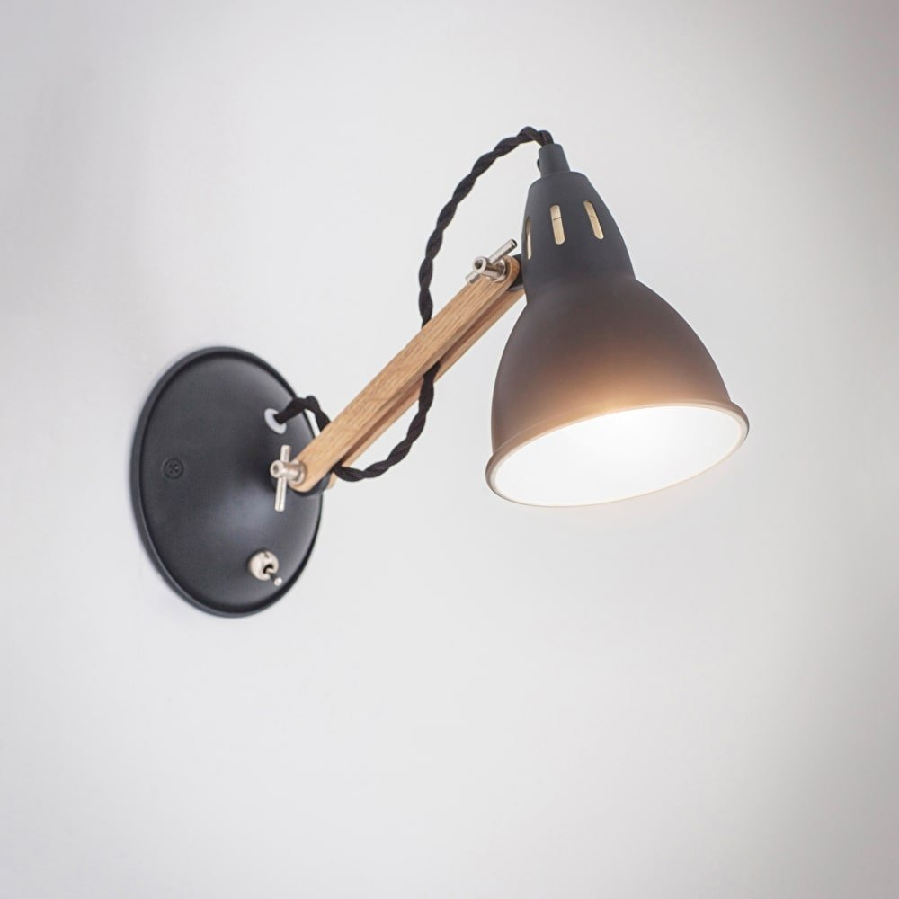 Steel & Oak Wall Light - Carbon
