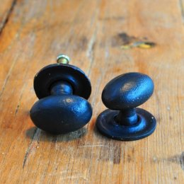 Oval Forged Cabinet Knob - Black
