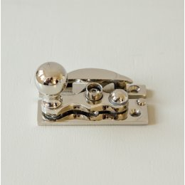 Bun Knob Sash Window Fastener - Polished Nickel
