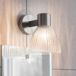 Campden Bathroom Wall Light - Satin Nickel SAVE 15%