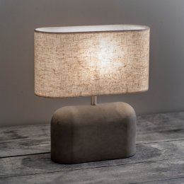 Concrete Table Lamp with Linen Shade