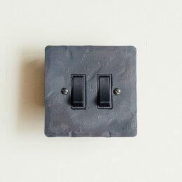 2 Gang 2 Way Rocker Switch - Black Waxed - Save 25%