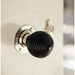 Ebony-Wood Beehive Door Knobs (Pair) - Nickel Collar & Rose save 15%