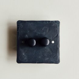 2 Gang Dimmer Switch - Black Waxed