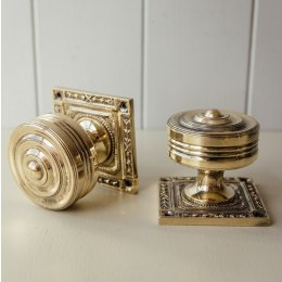 Georgian Decorated Rose Door Knobs (Pair) - Brass