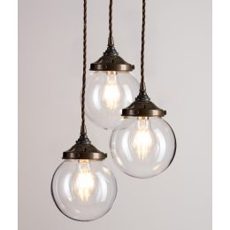 Glass Globe Cluster Pendant Light - Antique Brass