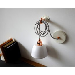 Mini Bell Pendant Light - White & Copper