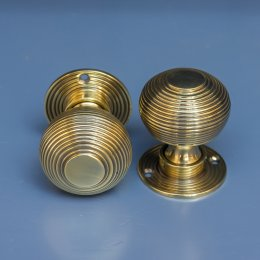 Beehive Mortice/Rim Knobs (Pair) - Aged Brass