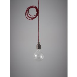Vintage Style Pendant Set - Antique Finish & Burgundy Cable