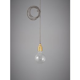 Vintage Style Pendant Set - Brass Finish & Elephant Grey Cable
