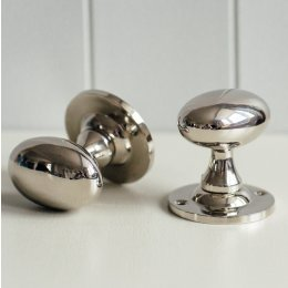 Oval Door Knobs (Pair) - Nickel