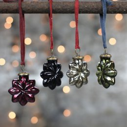 Coloured Star Baubles - Set of Four