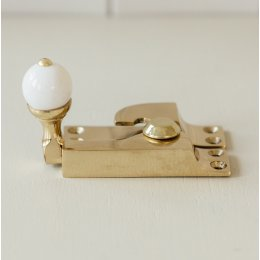 Straight Arm Sash Window Fastener with White Knob - Brass SAVE 20%