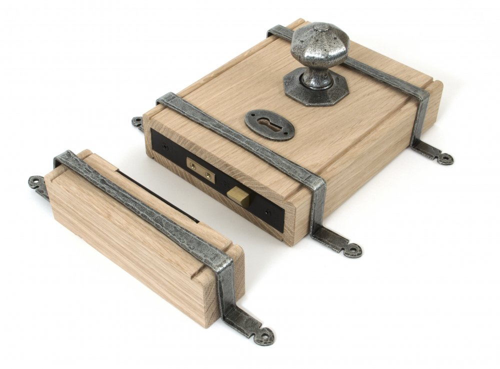 Pewter Patina Oak Box Lock image