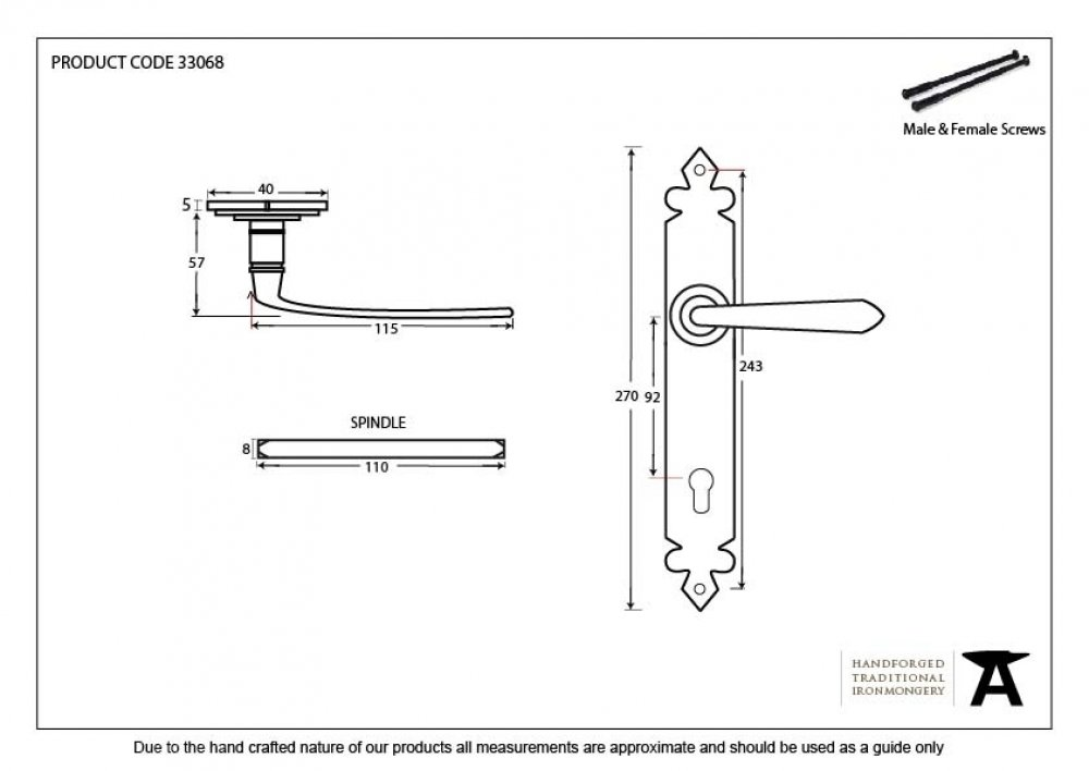 Pewter Cromwell Lever Espag. Lock Set image