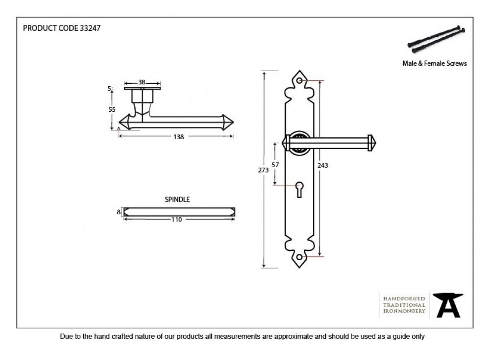 Black Tudor Lever Lock Set image