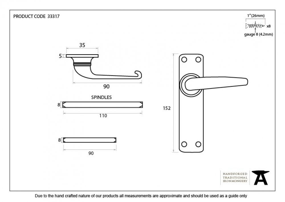 Black Smooth Lever Latch Set image
