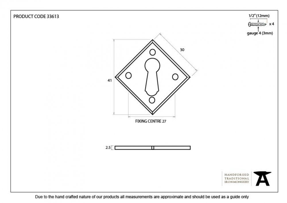 Pewter Diamond Escutcheon image