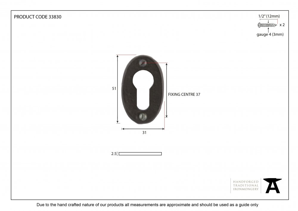 Black Oval Euro Escutcheon image