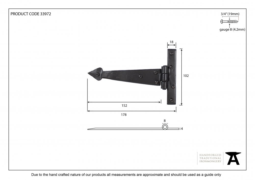 Black 6'' Arrow Head T Hinge (pair) image