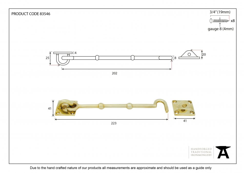 Polished Brass 8'' Cabin Hook image