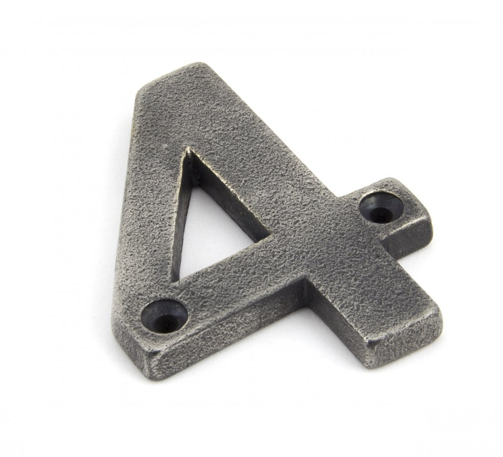 Antique Pewter Numeral 4 image